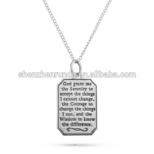 Alta qualidade em aço inoxidável serenidade oração gravável cão tag pingente esperança sabedoria coragem fé