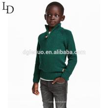 Новый дизайн дети одежда зеленый пацан пуловер высокое горлышко свитера мальчика