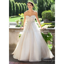 NA1022 Modest A-line Sweetheart Chapel Train Beaded Belt Empire Waist Wedding Dress