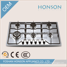 Six Burners Stainless Steel Built in Gas Hob Gas Cooker