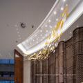 Lustre d'hôtel Crystal Long Lampe à suspension rectangulaire