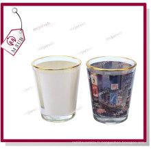 1,5 oz Sublimation personnalisé imprimé verre de vin avec jante or