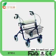 Folding four wheel steel rollator for elderly disable people