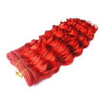 Red color deep curly wave Brazilian human hair extensions pure color NO MOQ wholesale price