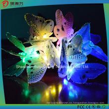 Luz de cadena solar 12LED mariposa