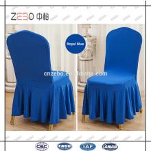Hot Sale Hotel Usado 200GSM Ruffled azul real Spandex silla cubre en Guangzhou