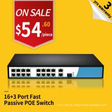 Largura de faixa de 9.2G 100 M 16 portas POE e 3 uplink interruptor ethernet 24 v passiva poe injector switch