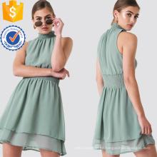 Plisado cuello alto en capas verde sin mangas Mini vestido de verano fabricación al por mayor de prendas de vestir de las mujeres de moda (TA0289D)