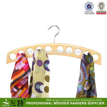 Natural Hardwood 10 scarves Organizer Wooden Scarf circle hanger
