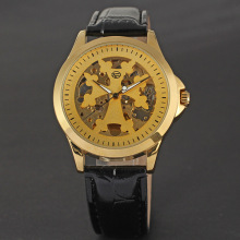 winner alloy case watch with skeleton design leather strip for man