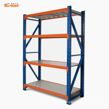 Powder coated medium duty boltless metal plate shelf