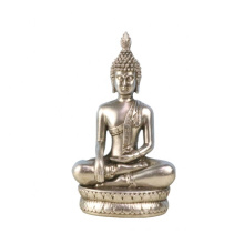 Factory Price Home Decoration Accessories Creative Polyresin Mini Sitting Buddha Indoor Silver Color Buddha Statues