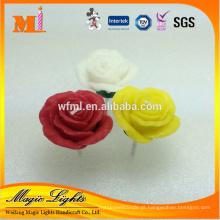 Vela de casamento decoração rosa colorida em forma de flor