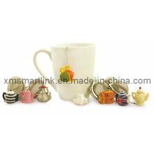 Infusor de chá decorativo, filtro de chá de aço inoxidável