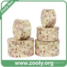 Printed Round Paper Gift Box / Rigid Cardboard Storage Box Set