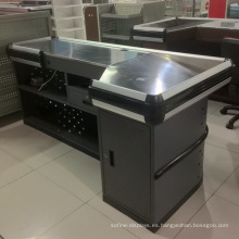 Metal Retail Cashier Checkout Counter para supermercados