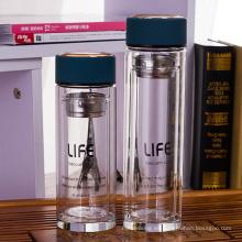 botella de agua de alta calidad del vidrio de borosilicate de 350ml 450ml con el filtro