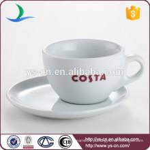 China fabricante copo de porcelana de copo de chá de uso de hotel de tamanho diferente e conjunto de placa