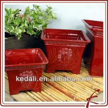 Cuadrado rojo de cerámica vidriada olla de flor