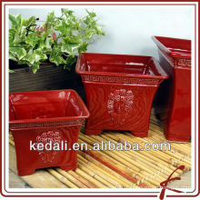 red square ceramic glazed flower pot