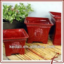 Vermelho, quadrado, cerâmico, glazed, flor, pote