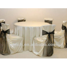 luxuriant satin chair covers with satin sash for wedding banquet hotel
