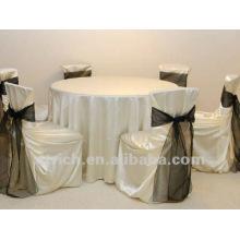 tampas da cadeira do cetim luxuriante com faixa de cetim para o hotel do banquete de casamento