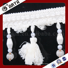white and beautiful beaded fringe and tassel for curtain decoration and other home textile