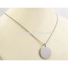 Moda de acero inoxidable bola de plata cadena de collar colgante redondo