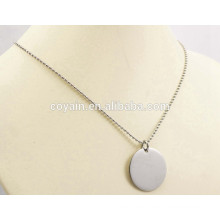 Fashion stainless steel silver ball chain round pendant necklace
