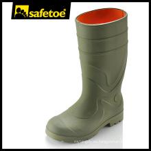 Botas de lluvia antideslizante, botas de lluvia de la suela del PVC, Botas de lluvia de acero del dedo del pie Y-6041