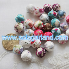 14MM Cloth Covered Acrylic Round Spacer Beads Charms For Jewelry Making