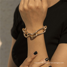 European and American Fashion Jewellery Gold Jewelry Hip Hop Punk Cuban Personality Irregular Hollow Thick Chain Bracelet for Women