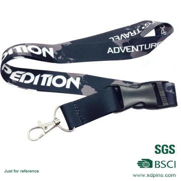 Lanière de médaille de couleur noire de conception adaptée aux besoins du client avec l'accessoire