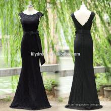 Schwarze Spitze-Kappen-Hülsen-Fußboden-Längen-nach Maß lange Abschlussball-Partei-Kleider Vestido De Fiesta PD104 langes festes Abschlussballkleid