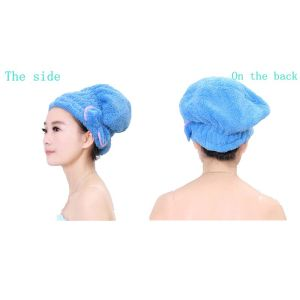 Coral Fleece Hair Drying Towel Shower Cap