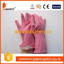 Gants de latex / latex en caoutchouc rose, manchette roulée (DHL421)