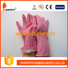 Pink Household Latex Gloves with Rolled Cuff DHL421