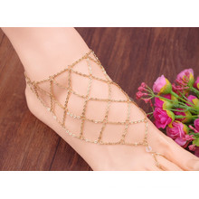 2015 fashion Net Chain Handmade Gold Anklet Designs