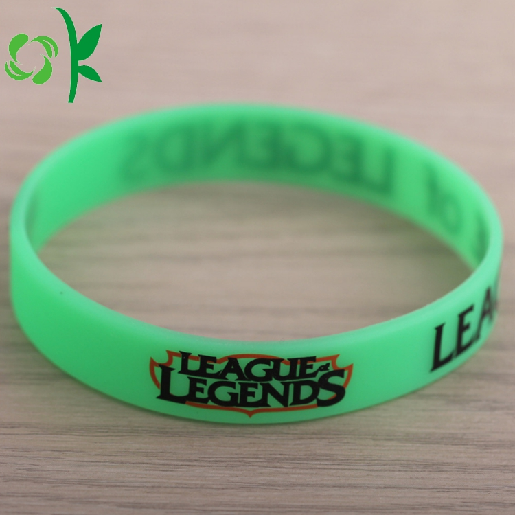 green printed silicone bracelet