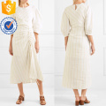 Dernière Conception Beige Trois-quarts Longueur Manches Rayé Midi Dress Fabrication En Gros Mode Femmes Vêtements (TA0317D)