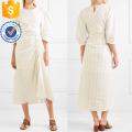 Последний дизайн бежевый три четверти рукав полосатый Миди платье Производство Оптовая продажа женской одежды (TA0317D)