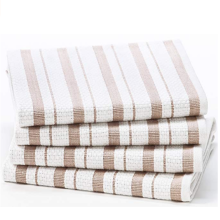 Cotton Basket Weave Striped Tea Towels