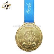 Medalla de pesas de encargo en relieve de oro personalizado 3D olímpico con cinta azul