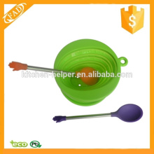 New Product Easy to Store Solid Silicone Spoon
