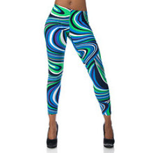 Calças Capri sublimadas, Capri colorido Legging, Multicolor Flip (CRP-005)