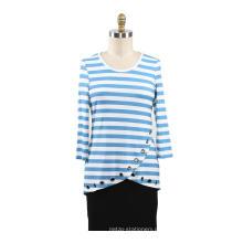 Damen bedruckte Streifen Rayon T-Shirt