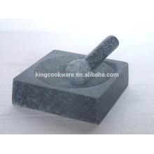almofariz e pilão quadrado granito polido