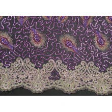 Elegant Embroidery Beaded Lace Fabric for Garment Trimming