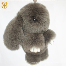 Fábrica Atacado Brown Color Real Rabbit Sharp Fur Keyring for Bag Charm